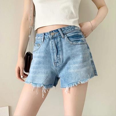 High-waisted Loose Wide-leg Denim Shorts NSAC51791