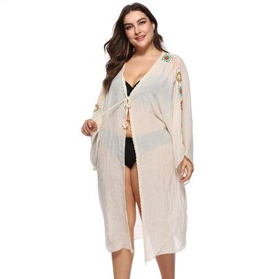 Plus Size Lace-up Long-sleeved Cardigan NSOY51856