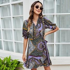 Lace-up Waist Slimfive-point Sleeve Knee-length Dress NSLM51880