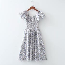 Square Neck Elastic Wrap Dress NSAM51963
