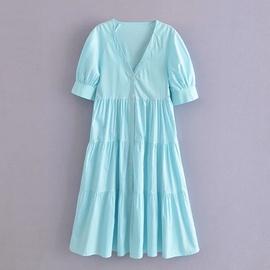 Stitching Poplin Dress NSAM51977