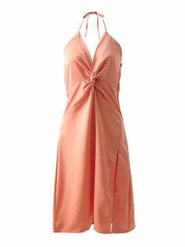 Spring Knotted Halter Dress NSAM51990