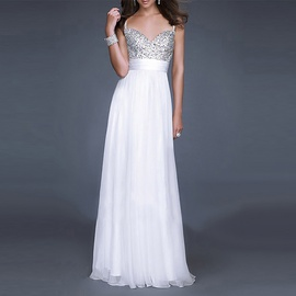 Solid Color Splicing Sequin Sling Long Dress NSSA52036