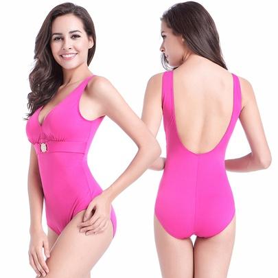 Plus Size V-neck High Waist Halter One-piece Swimsuit NSLUT53817