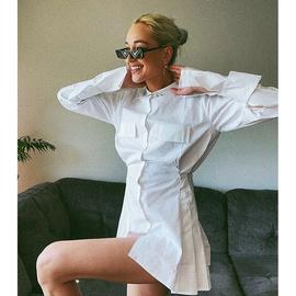 Sexy Stand-up Collar Long-sleeved Ruffled Waist Short Shirt Dress  NSJIM53870