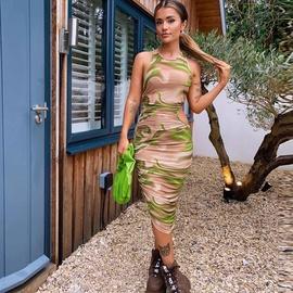 Sexy Hollow Pleated Bag Hip Long Dress  NSFR52047