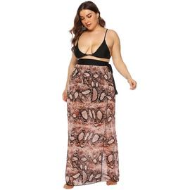 Leopard Print Bandage Irregular One-piece Beach Chiffon Skirt NSOY52058