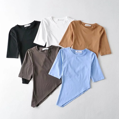 Sexy Irregular Short-sleeved New Elastic Solid Color Blouse NSHS52076
