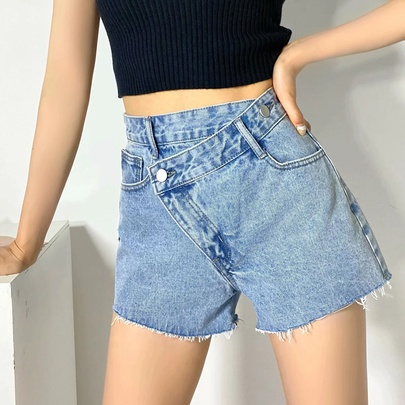 Irregular Frayed Denim Shorts NSHS52077
