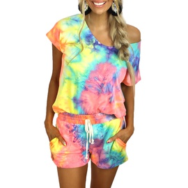 Tie-dye Printing Short-sleeved Round Neck Top & Shorts Set NSZH52090