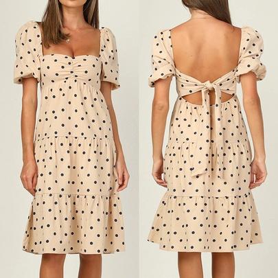Loose High Waist Printing Polka Dot Mid-length Dress  NSJR52109