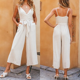 Sleeveless Loose Cotton Pure Color Thin Stitching Sling Jumpsuits  NSJR52113