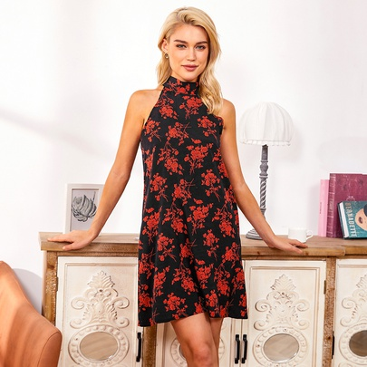 Sexy Strapless Lace-up Hanging Neck Floral Dress  NSJR52120