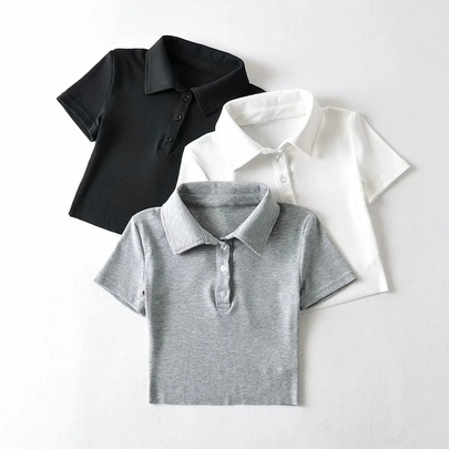 Solid Color Polo Collar Sexy Short-sleeved T-shirt  NSAC52129