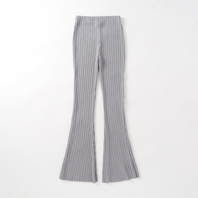 High-waist Casual Stretch Knit Flared Trousers NSAC52130