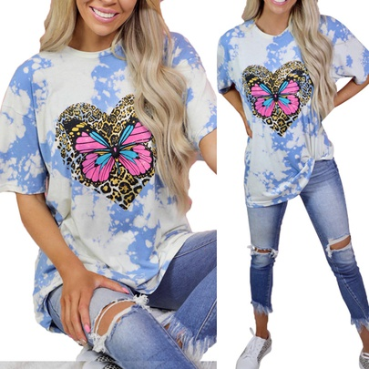 New Butterfly Print Short-sleeved Round Neck Casual Loose T-shirt NSKX52173