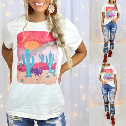 Summer New Print Short-sleeved Round Neck Casual T-shirt NSKX52174