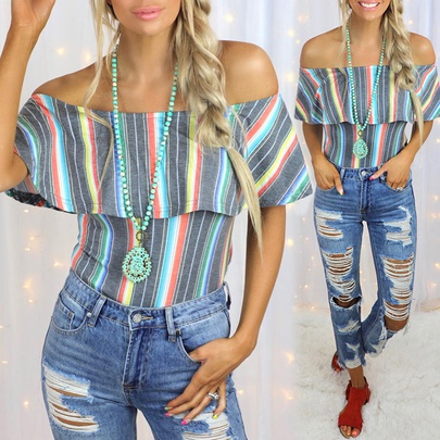 Striped Hit Color Printing Sleeveless Collar Casual Top NSKX52177