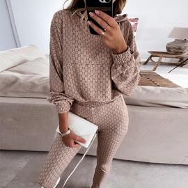 Printing Long-sleeved Loose Hooded Swearshirt & Pants Set NSKX52178