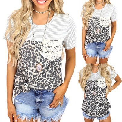 Summer New Stripes Leopard Stitching Printing Short-sleeved Casual T-shirt NSKX52180