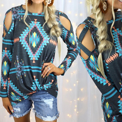 Printed Long-sleeved Strapless Round Neck Loose Casual T-shirt NSKX52181