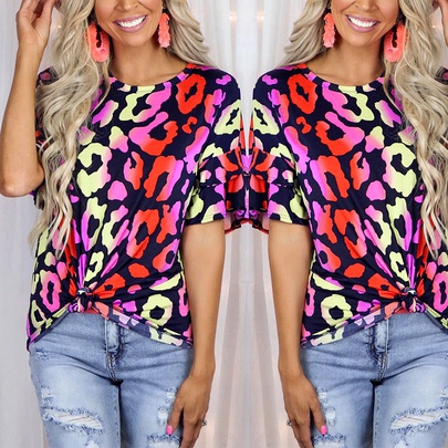 Summer New  Printed Short-sleeved Round Neck Casual T-shirt NSKX52183