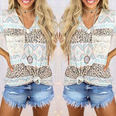 Summer New Printing Contrast Short-sleeved Loose Casual T-shirt NSKX52184