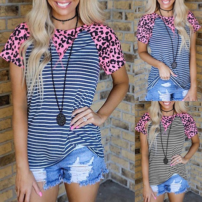 Summer New Printing Stripe Stitching Short-sleeved Casual Top NSKX52187