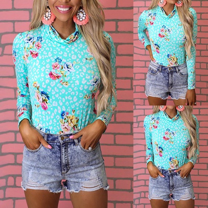 Summer New Long-sleeved Printed High-neck Casual T-shirt NSKX52188