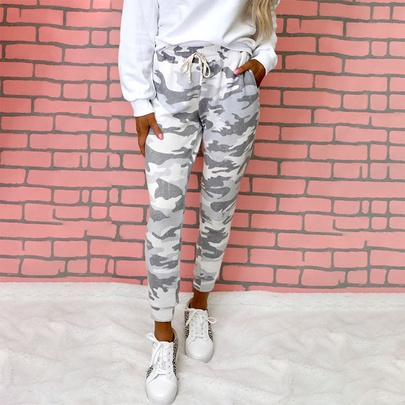 Drawstring Printing Thin High-waisted Casual Trousers NSKX52189