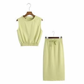 Spring Velvet Suit Vest & Skirt Set NSAM52296