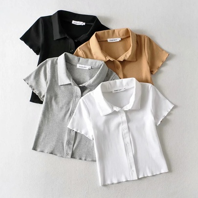 Summer New Fashion Solid Color Small Lapel Slim T-shirt NSHS52307