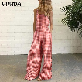 Cotton And Linen Printed Button Embellished Suspenders Jumpsuit NSAXE52339