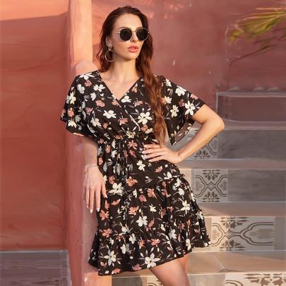 Retro V-neck Lace-up Floral Chiffon Dress NSJR52368
