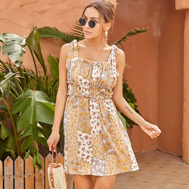 Sling Lace-up Tube Top Chiffon Print Pleated Dress NSAL52382