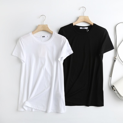 Cotton Loose Solid Color Round Neck T-shirt NSAM52387