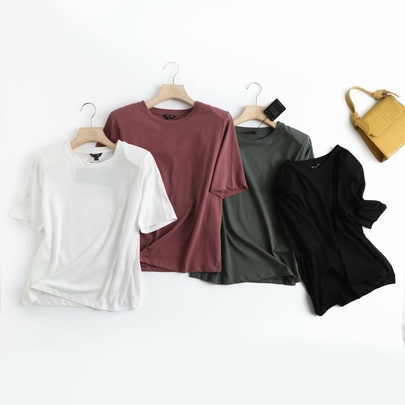 Round Neck Loose Solid Color T-shirt  NSAM52397