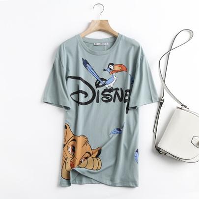 New Cartoon Animal Print Round Neck T-shirt  NSAM52405