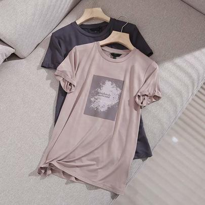 Summer Loose Drape Letter Printing T-shirt NSAM52406