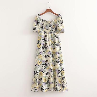 Printed Split Chest Wrap Dress  NSAM52414