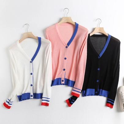 Hit Color V-neck Linen Knitted Cardigan NSAM52417