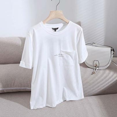 Summer New Pocket Letter Short-sleeved T-shirt NSAM52420