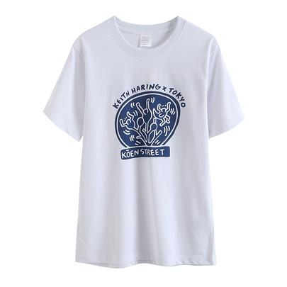 Summer New White Round Neck T-shirt NSAM52423