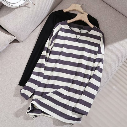 Hit Color Striped Mid-length T-shirt NSAM52424