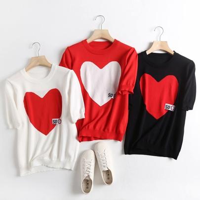 Love Jacquard Round Neck T-shirt NSAM52425