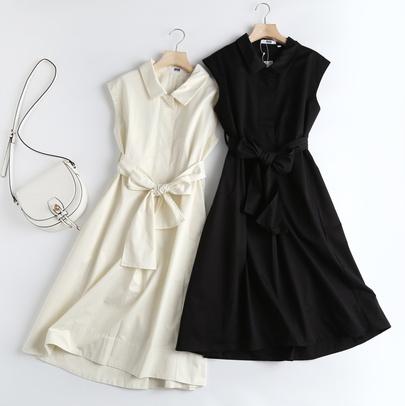 Lapel Sleeveless Lace-up Fashion Dress  NSAM52431
