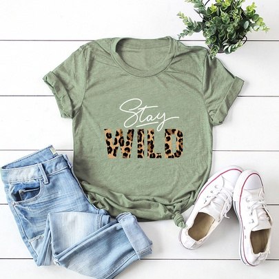 New  Leopard Fashion Letters Printed Casual Shirt  NSSN52447