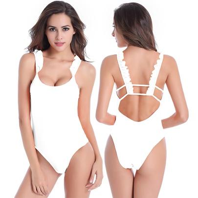 Sexy Ruffled Sling Halter Triangle High Waist One-piece Swimsuit  NSLUT53813