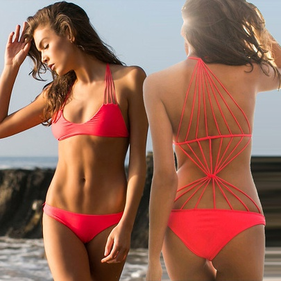 Solid Color Hollow Multi-rope Cross One Piece Swimsuit  NSLUT53807