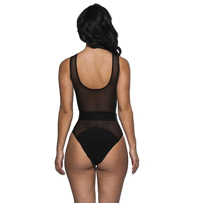 Pure Color Perspective Mesh Sexy One-piece Swimsuit  NSLUT53804